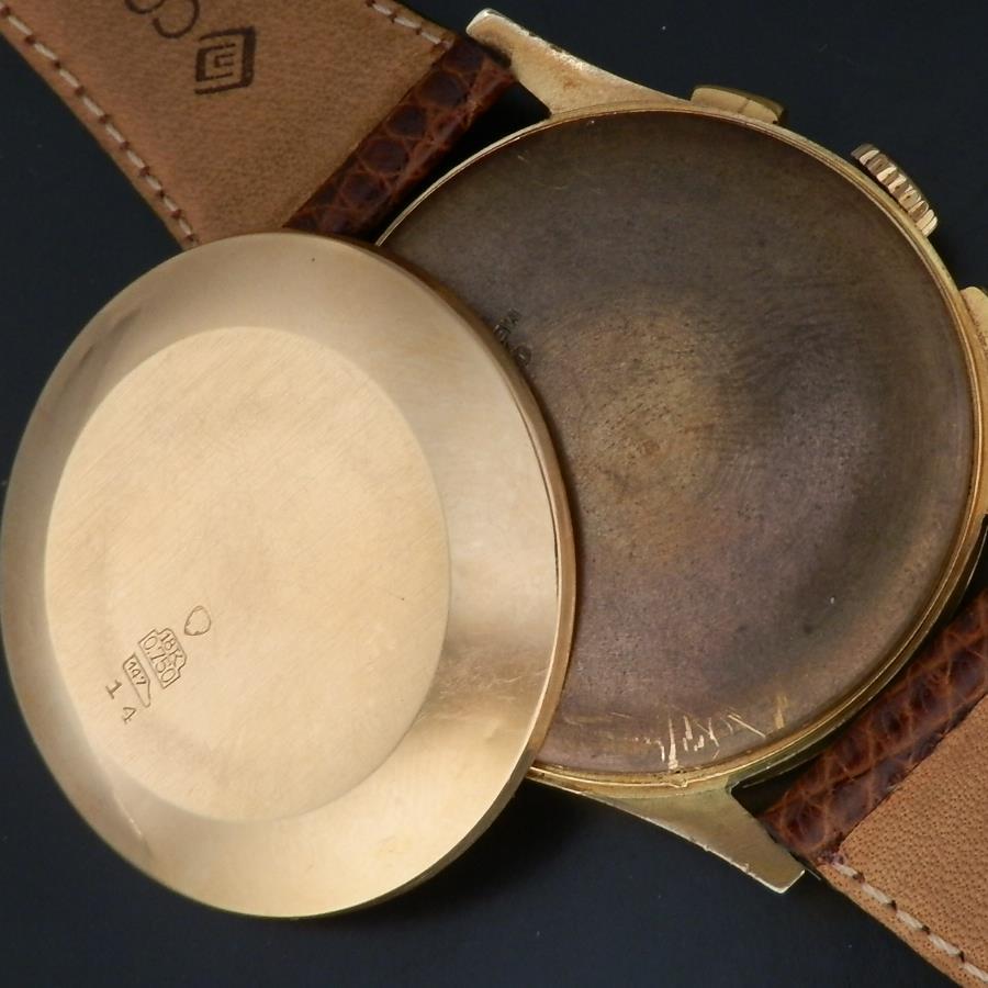 激希少18金無垢ローズゴールド★クロノグラフ スイス 耐磁★Cal.51  37mmオーバービッグラウンドケースのサムネイル