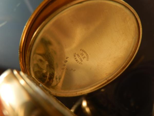 激希少グレード972鉄道仕様★ハミルトン 懐中★14金無垢1920年代 ハンターオープンフェイスケース ダブルセッティングレバーエナメルダイアルのサムネイル