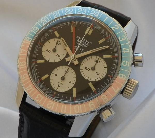 伝説1968年モデル ★ホイヤー オウタビア GMTクロノグラフ★Cal.724 ブラックターニングベゼルのサムネイル
