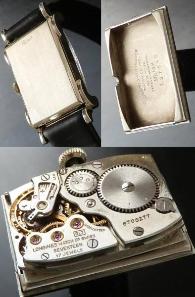 1950年代デッドストック級★ロンジン★14金無垢ホワイトゴールド エキゾチック レクタンギュラーケース  Cal.9LTのサムネイル
