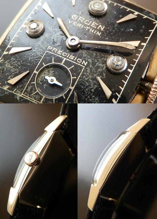 激希少ミラーブラック 3ピースダイヤモンド Ref.430-674★グリュエン VERI-THIN(超薄型)★14金無垢シャンパンゴールド Cal.430のサムネイル