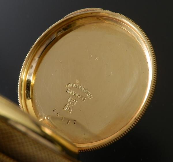 1888年の愛のメッセージ★ティファニー 18金無垢シャンパンゴールド ハンター★彫金 スケルトンインナーダストケースのサムネイル