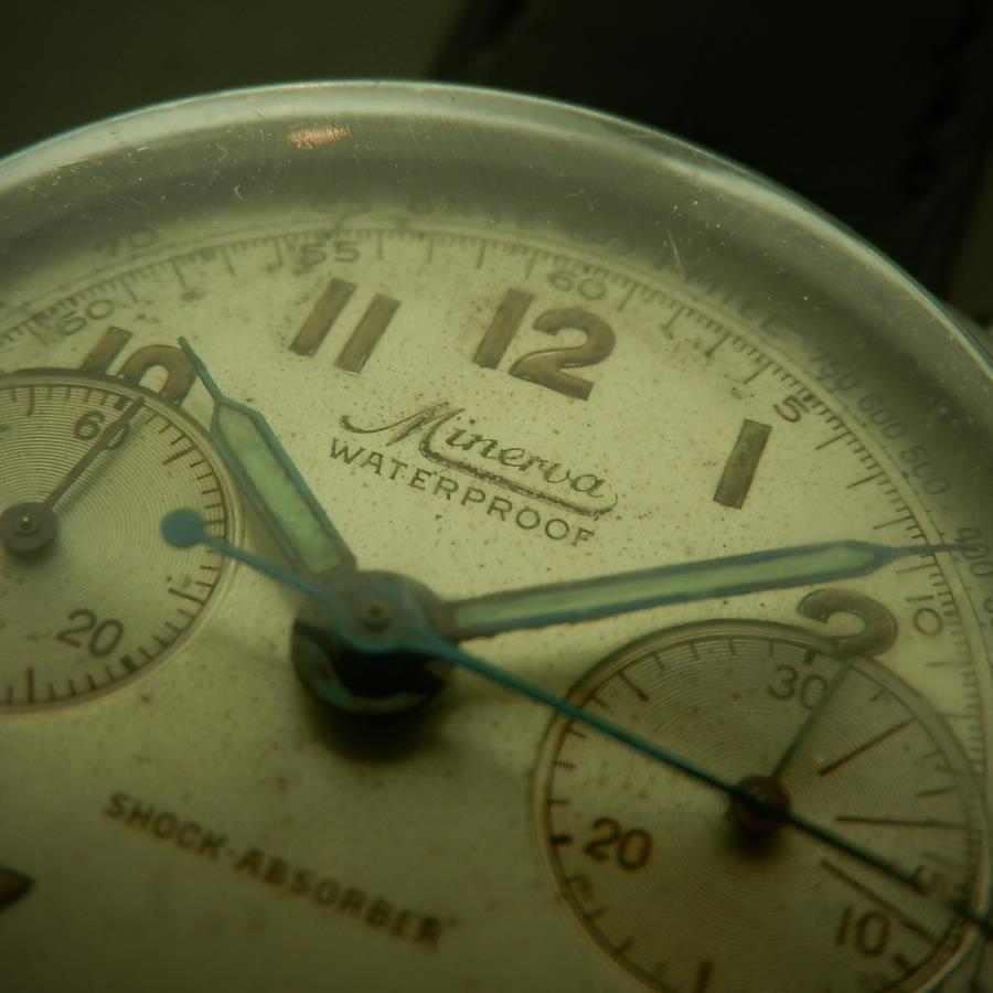幻!Cal.13 ワンプッシュクロノグラフ 2レジスター★ミネルバ★クッション1930's ステンレススティールのサムネイル