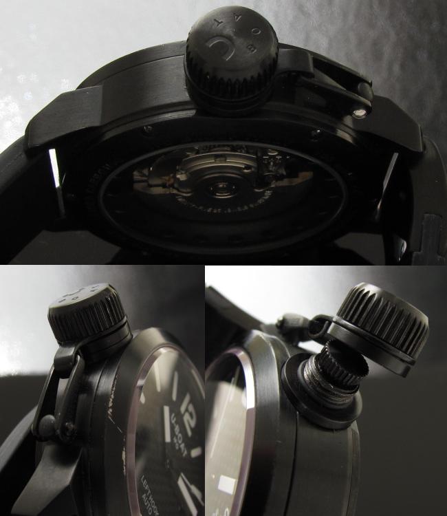 45mm左サイドクラウン★U-BOAT CLASSICO 45★ブラック ステンレススティール☆オリジナルボックス付属のサムネイル