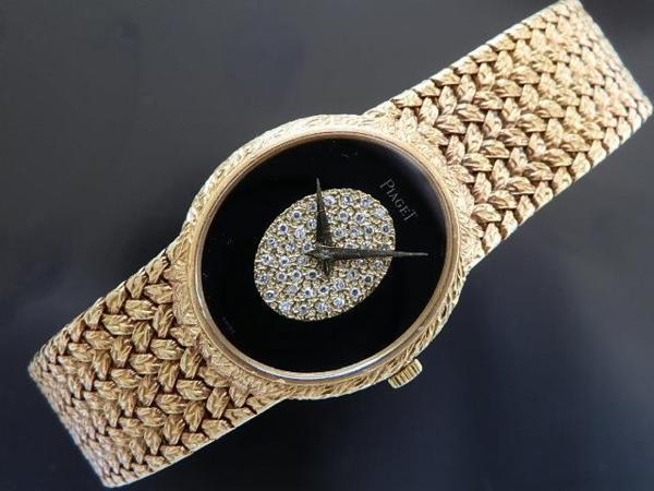 激希少18金無垢シャンパンゴールド 45ピースダイヤモンド★ピアジェ ブレスウオッチ Ref.9822D2★オニキス ブラック Cal.9P2のサムネイル