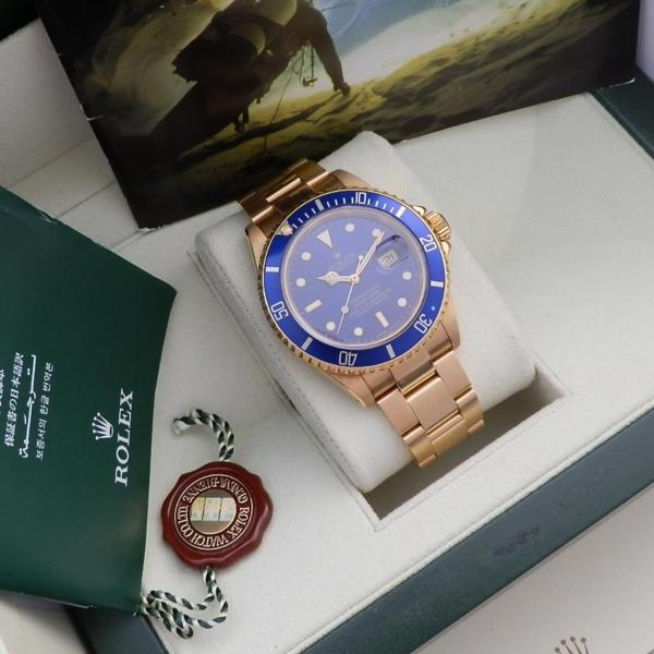 "★★★ R O L E X ★★★  18K Solid Gold ""OYSTER PERPETUAL DATE"" Purple Dial w/Circle★18金無垢 ""オイスターパーべチュアル デイト"" パープルダイアル 縁有りインデックス  SUBMARINER Ref.16618/Cal.3135のサムネイル"