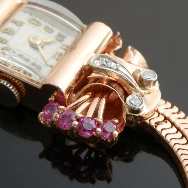 "☆☆☆ BELECO WATCH Co ☆☆☆  14K Solid Red Gold ""COCKTAIL WATCH"" Brilliant Cut Diamonds & Rubies☆14金無垢ローズゴールド ""カクテルウオッチ"" ブリリアンカットダイヤ&ルビー  Total:O.5ct/G-H-I/VSのサムネイル"