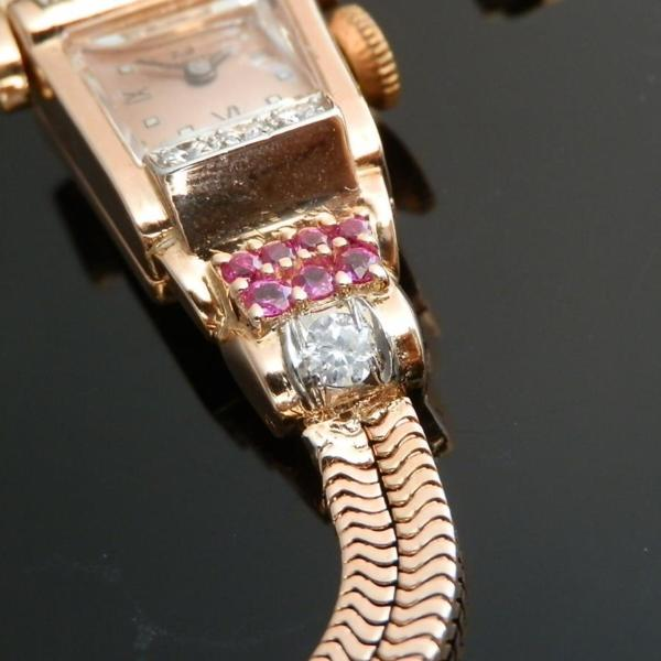 "☆☆☆ HARVEL WATCH Co ☆☆☆ 14K Solid Red Gold ""COCKTAIL WATCH"" Brilliant Cut Diamonds & Rubies☆14金無垢ローズゴールド ""カクテルウオッチ"" ブリリアンカットダイヤ&ルビー  Total:2.3ct/G-H-I/VSのサムネイル"
