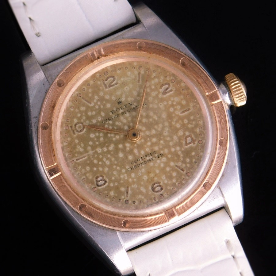 """★★★ ROLEX ★★★  18K Solid Red Gold Needed Bezel """"BUBBLEBACK"""" Tropical Dial★18金無垢レッドゴールドニーディッドベゼル """"バブルバック"""" ロピカルダイアル  Ref.3372/Cal.630NAのサムネイル"""
