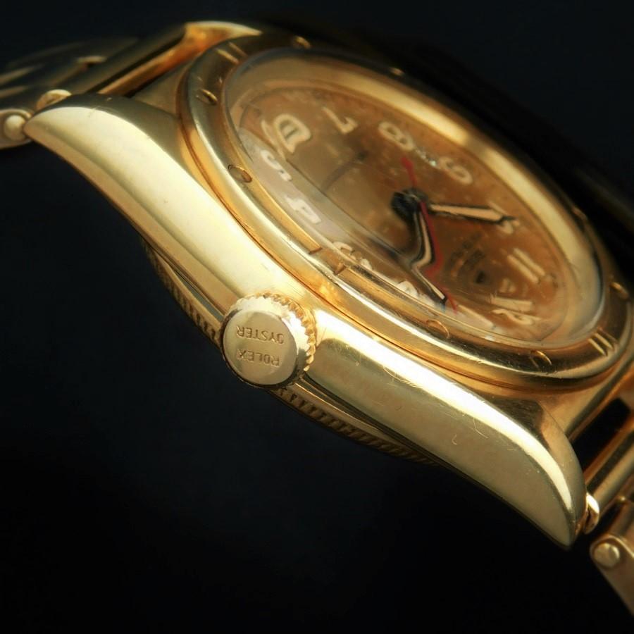 "★★★ ROLEX ★★★  18K Solid Gold ""Tropical Dial"" W/14KYG Extention Rivet Bracel In 1953★18金無垢イエローゴールド ""ロピカルダイアル"" W/14金無垢1953年製エクステンションリベットブレス  BUBBLEBACK-Ref.3372/Cal.630NAのサムネイル"