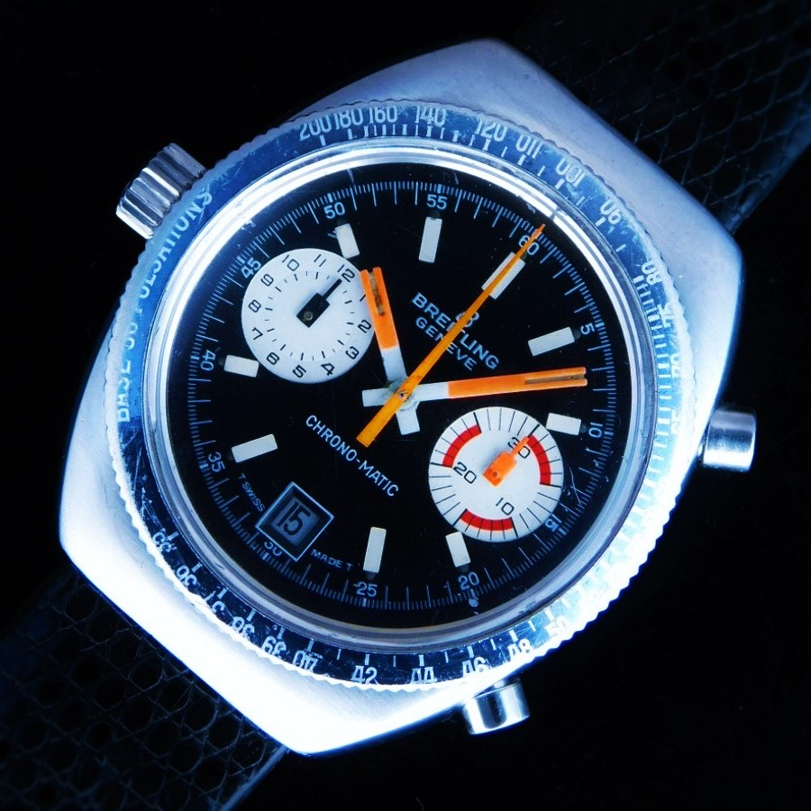 """★★★ BREITLING ★★★  The World's First Auto Chronograph """"CHRONO-MATIC"""" Oval Case☆世界初自動巻クロノグラフ """"クロノマティック"""" 楕円型ステンレスケース  Ref.2114/Cal.11のサムネイル"""