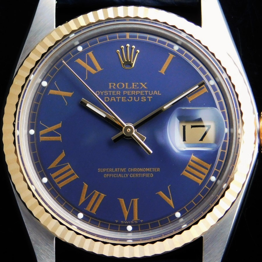 "★★★ ROLEX ★★★  OYSTER PERPETUAL DATEJUST Circa 1974 Ref.1601/3 18K SOLID GOLD BEZEL,CROWN & STEEL"" BLUE ROMAN NUMERAL""  18金無垢ベゼル 竜頭 & スティール ""ブルー ローマン文字盤゛Cal.1570のサムネイル"