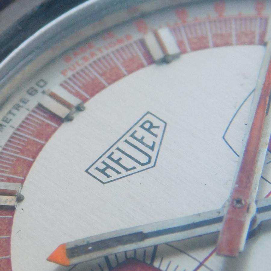 """★★★ HEUER ★★★ Fiberglass Black & Steel Bezel """"MONOCOQUE CASE"""" In 1972's Model✩ファイバーグラスブラックバック & スティールベゼル """"モノコックケース"""" 1972年モデル Ref.733809/Cal.7733のサムネイル"""