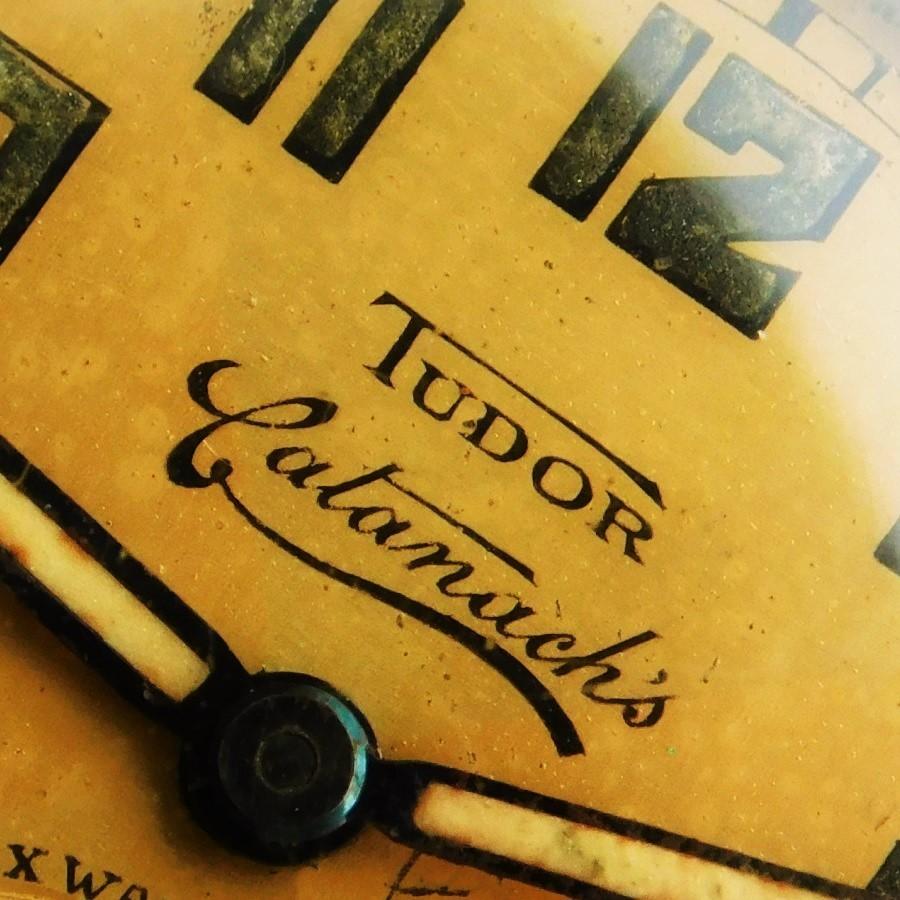 "★★★ TUDOR ★★★ Triple name ""TUDOR BY ROLEX WATCH CO Retailer CATANACH'S"" 9K Solid Pink Gold Cushion☆トリプルネーム ""チュードル ロッレクス キャタナチーズ"" 9金無垢ピンクゴールド クッションケース Cal.59のサムネイル"