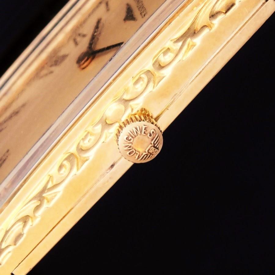 """★★★ LONGINES ★★★  Big Requtangular Case """"ARABESQUE PATTERN FINISHED """" on the 18k Solid Gold☆ビッグレクタンギュラーケース """"アラベスク柄彫金仕上げ"""" 18金無垢シャンパンゴールド Ref.30191/Cal.428のサムネイル"""