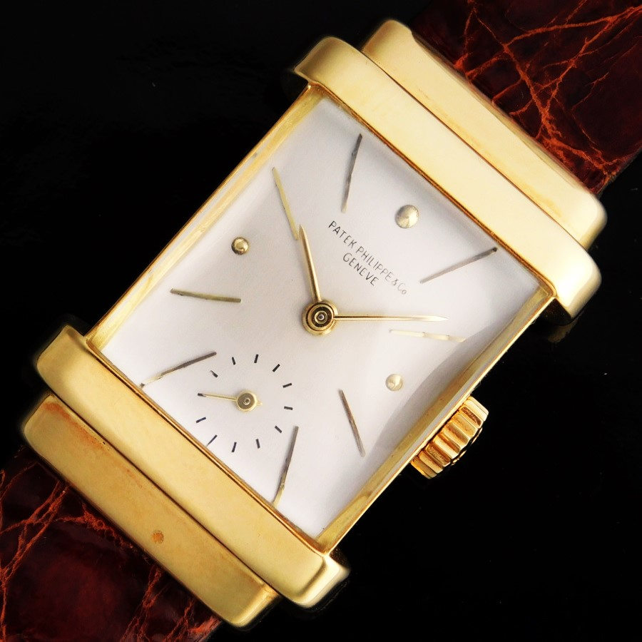 "★★★ PATEK PHILIPPE ★★★ 18K Solid Champagne Gold Rectangular -TOP HAT- 18k Solid Champagne Gold makers☆18金無垢シャンパンゴールドレクタンギュラー""トップハット"" – 18金無垢シャンパンゴールドインデックス Ref.1450/Cal.9-90のサムネイル"