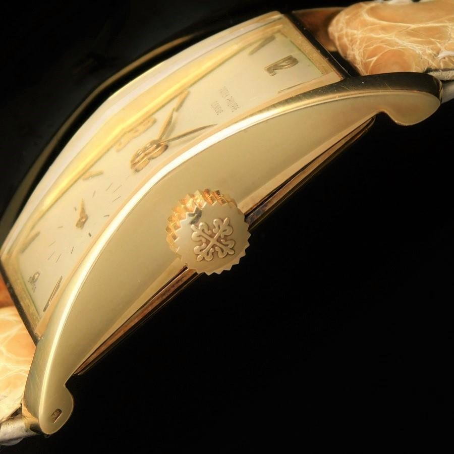 ★★★ PATEK PHILIPPE ★★★ 18K Solid Gold Requtangular – FLARED – 18K Rose Gold makers☆激希少極上品18金無垢☆1952年製造アーカイブ付属★パテック フィリップ フレアード Ref.1539★名機C.9-90のサムネイル