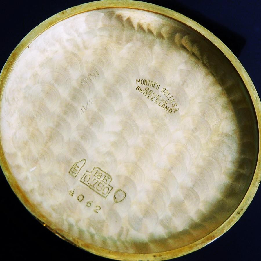 """★★★ ROLEX ★★★ """"18K Solid Gold """"CHRONOGRAPHE"""" Coin Edge Side Engraving Ref.4062☆幻18金無垢シャンパンゴールドティアドロップラグ&コインエッジ彫金★ロレックス クロノグラフ Ref.4062★1952年製造☆キャリバー23のサムネイル"""