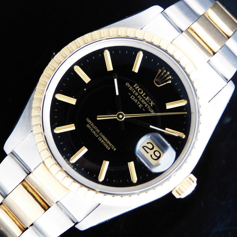★★★ ROLEX ★★★ 18k Solid Gold & SS -OYSTER PERPETUAL DATE- BLACK GLOSS DIAL Ref.15053☆1983年製造☆ロレックス国際保証期間2021年9月11日まで★ロレックス オイスターパーペチュアル デイト Ref.15053★18金無垢コンビCal.3035のサムネイル