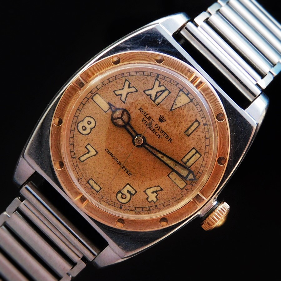 ★★★ ROLEX ★★★ 18K Solid Rose Gold & SS -VICEROY- Original Unique Dial Ref.3359☆幻100%純正ラジウム夜光ユニークダイアル★ロレックス バイセロイ Ref.3359★1944年製造☆18金無垢ローズ&SS☆Cal.710クロノメーター仕様のサムネイル