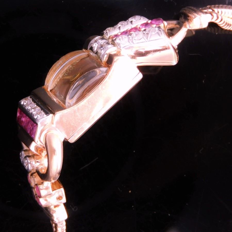 激激希少1930年代☆14金無垢ローズゴールド★クリントン レディース カクテルウオッチ★15p本物純正ダイヤモンド&13p本物純正ルビーのサムネイル
