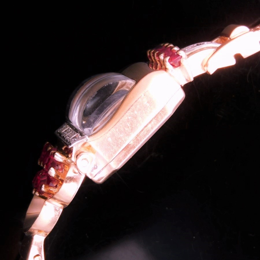 激希少1930年代14金無垢ローズゴールド★フラワーウオッチ カクテルウオッチ★7ピース純正本物ダイヤモンド&純正本物ルビー☆キャリバー620のサムネイル