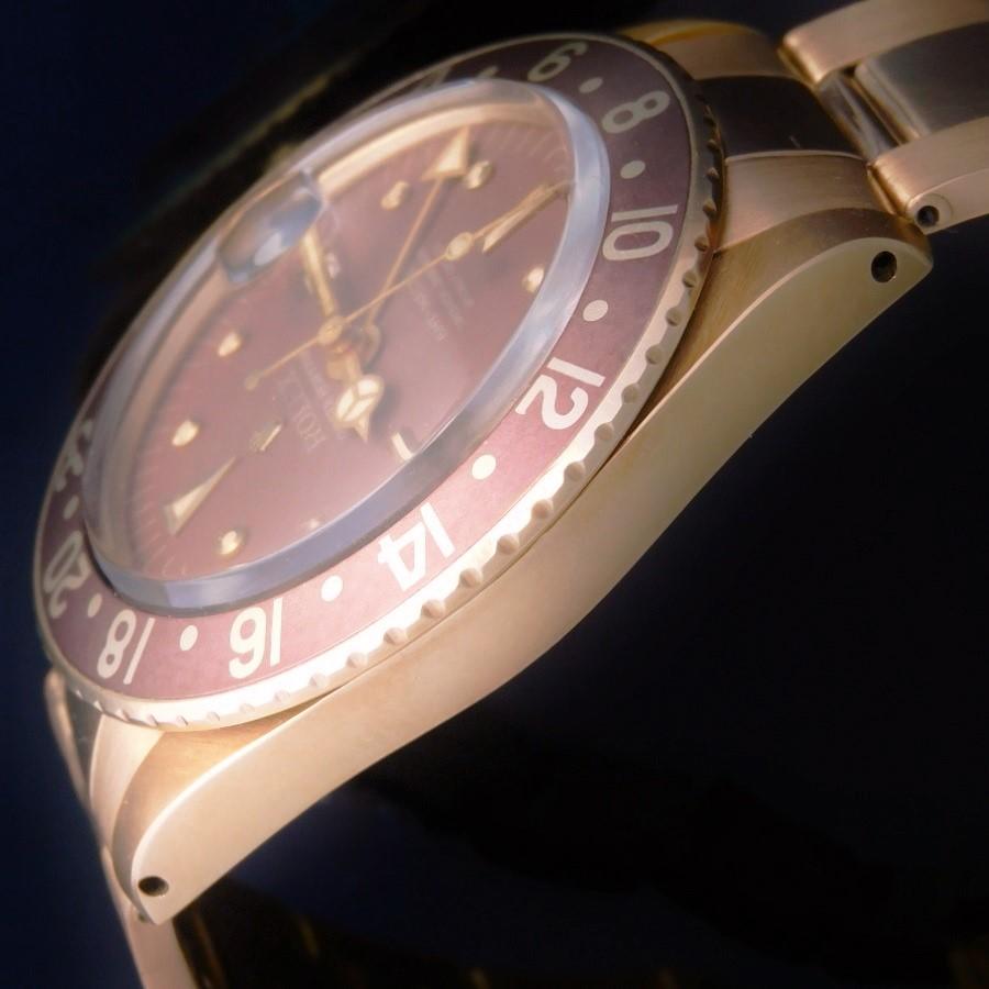 日ロレOH見積り済・1969年頃マットブラウン・フジツボ18金無垢★ロレックス GMT-MASTER Ref.1675/8★18金無垢3連リベット7206/8・FF.80のサムネイル