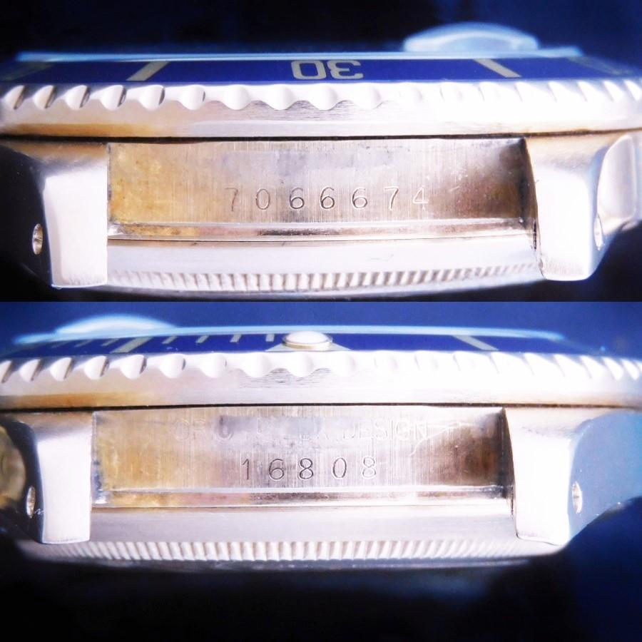 激希少18金無垢フジツボ青サブ1981年頃製造★ロレックス サブマリーナ Ref.16808★エイジブルー☆Ref.92908オイスター3連ハードブレスのサムネイル