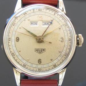 1950年代ホイヤー★トリプルカレンダー★Cal.90 14金無垢ローズゴールド