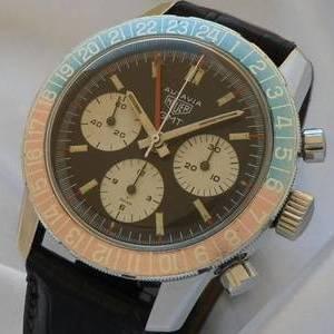 伝説1968年モデル ★ホイヤー オウタビア GMTクロノグラフ★Cal.724 ブラックターニングベゼル