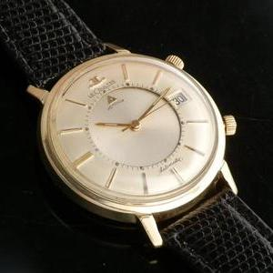 "★★★ JAEGER-LECOULTRE ★★★  14K SOLID GOLD ""MEMOVOX"" THE FIRST AUTOMATIC ALARM DATE★14金無垢シャンパンゴールド ""メモボックス"" 自動巻アラームデイトファーストモデル Ref.267-825/Cal.825"