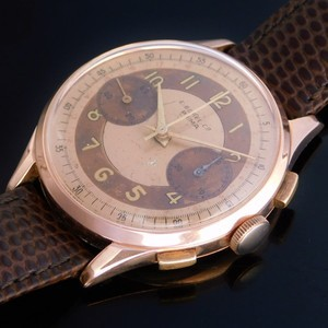 """★★★ ERNEST BOREL Co ★★★  """"18K Solid Rose Gold -PRIMA- Tropical Chronograph Dial★18金無垢ローズゴールド """"プリマ"""" トロピカルクロノグラフダイアル  Ref.8373/Cal.23"""