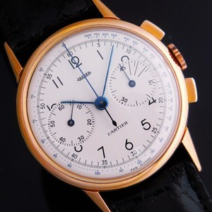 "★★★ CARTIER By JAEGER ★★★  Legendary W Name ""2 REGISTER CHRONOGRAPH"" 18K SOLID PINK GOLD☆伝説Wネーム ""2レジスタークロノグラフ"" 18金無垢ローズゴールド Ref.12313/Cal.285"
