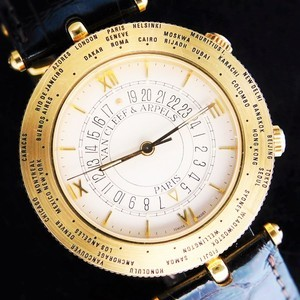 "★★★ Van Cleef & Arpels ★★★ The World Time Alarm ""TRAVELER"" In 18K Solid Gold☆ワールドタイム アラーム ""ヴァン クリーフ&アーペル"" 18金無垢 Cal.911"