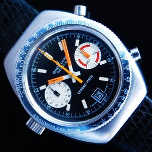 """★★★ BREITLING ★★★  The World's First Auto Chronograph """"CHRONO-MATIC"""" Oval Case☆世界初自動巻クロノグラフ """"クロノマティック"""" 楕円型ステンレスケース  Ref.2114/Cal.11"""