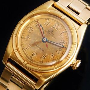 "★★★ ROLEX ★★★ All 18K Solid Gold ""Tropical Dial"" W/Extension Rivet Bracelet In 1953☆18金無垢ゴールドニーディッドベゼル ""ロピカルダイアル"" W/1953年製エクステンションリベットブレス BUBBLEBACK-Ref.3372/Cal.630NA"
