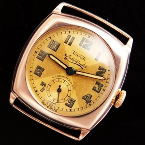 "★★★ TUDOR ★★★ Triple name ""TUDOR BY ROLEX WATCH CO Retailer CATANACH'S"" 9K Solid Pink Gold Cushion☆幻1936年トリプルネーム☆ハンドレイ社9金無垢ピンクゴールドクッション★チュードル By ロッレクス キャタナチーズ★フォンテメロンCal.59"