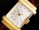 """★★★ PATEK PHILIPPE ★★★ 18K Solid Champagne Gold Rectangular -TOP HAT- 18k Solid Champagne Gold makers☆18金無垢シャンパンゴールドレクタンギュラー""""トップハット"""" – 18金無垢シャンパンゴールドインデックス Ref.1450/Cal.9-90"""