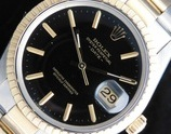 ★★★ ROLEX ★★★ 18k Solid Gold & SS -OYSTER PERPETUAL DATE- BLACK GLOSS DIAL Ref.15053☆1983年製造☆ロレックス国際保証期間2021年9月11日まで★ロレックス オイスターパーペチュアル デイト Ref.15053★18金無垢コンビCal.3035